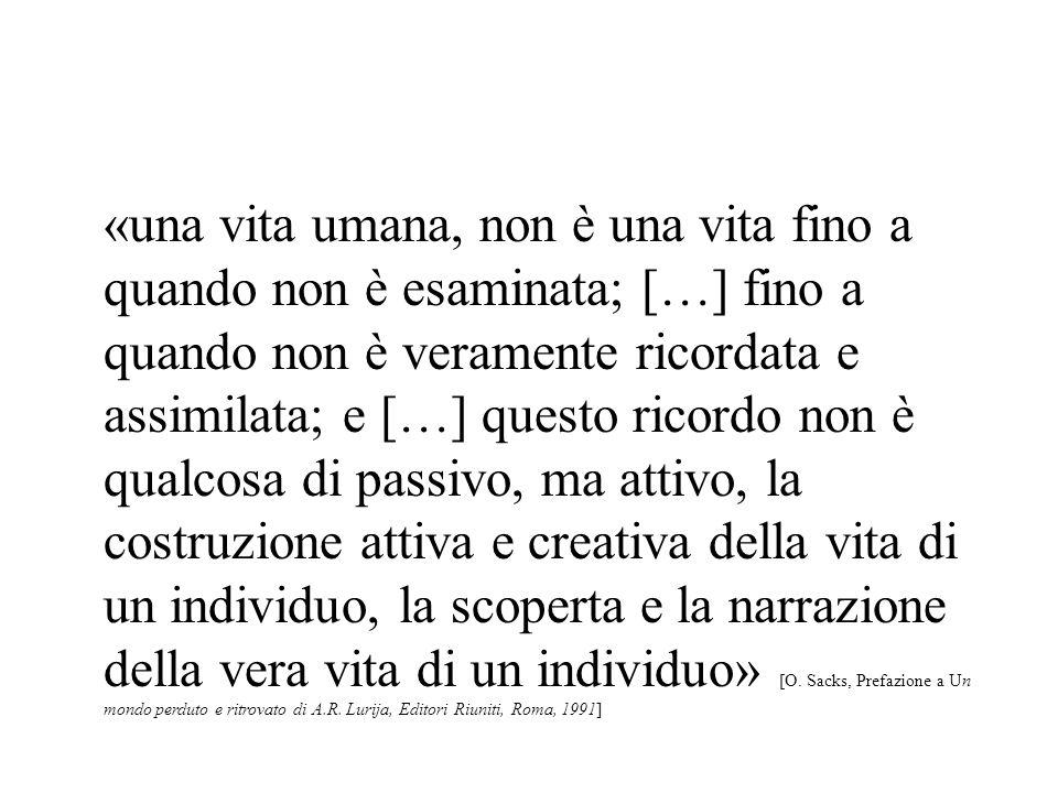 «una vita umana, non è una vita fino a quando non è esaminata; […] fino a quando non è veramente ricordata e assimilata; e […] questo ricordo non è qu
