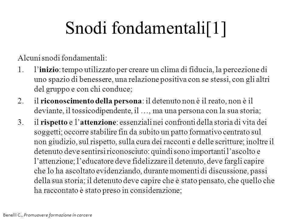 Snodi fondamentali[1] Alcuni snodi fondamentali: 1.linizio: tempo utilizzato per creare un clima di fiducia, la percezione di uno spazio di benessere,