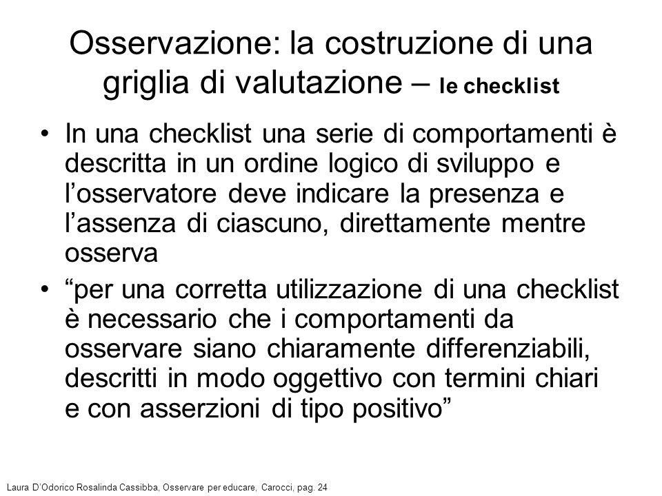 In una checklist una serie di comportamenti è descritta in un ordine logico di sviluppo e losservatore deve indicare la presenza e lassenza di ciascun