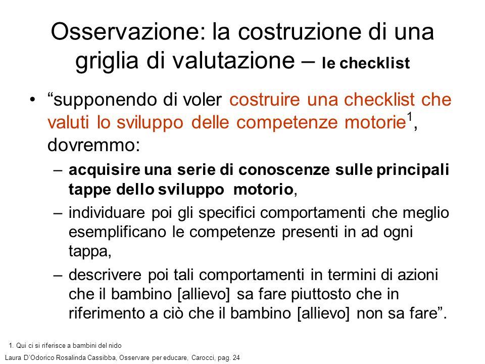 supponendo di voler costruire una checklist che valuti lo sviluppo delle competenze motorie 1, dovremmo: –acquisire una serie di conoscenze sulle prin