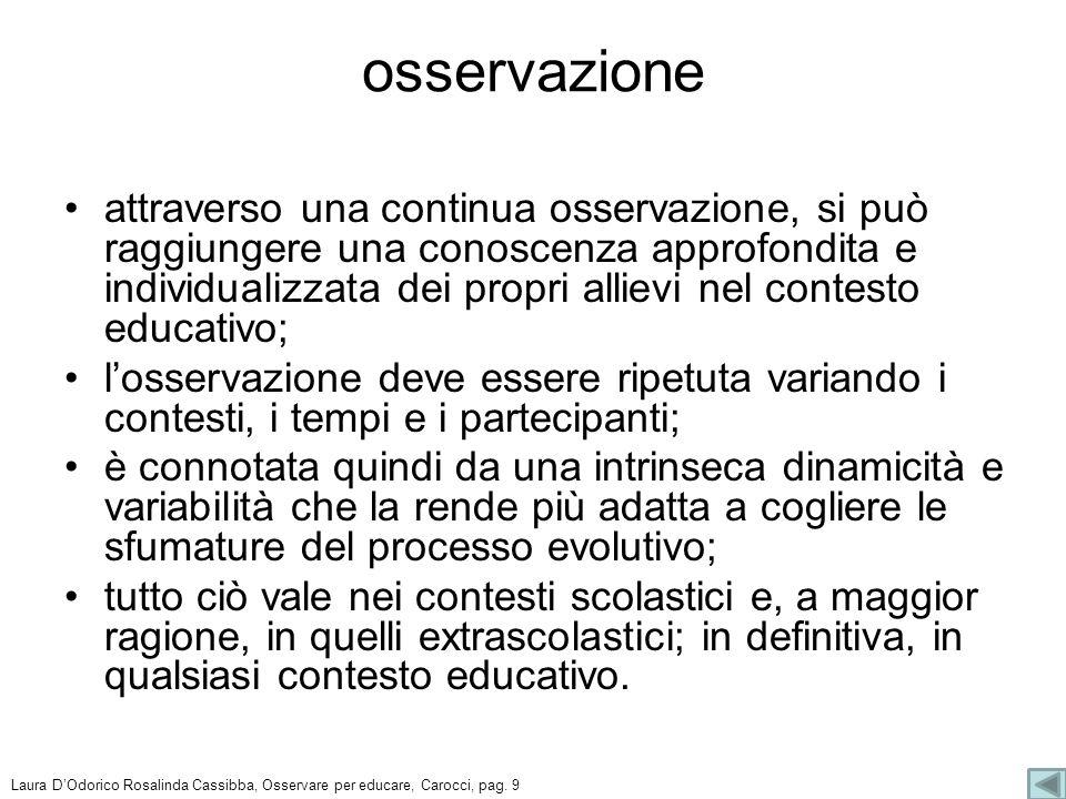 Laura DOdorico Rosalinda Cassibba, Osservare per educare, Carocci, pag. 14