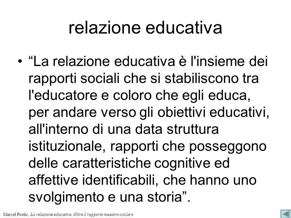 relazione educativa La relazione educativa è l'insieme dei rapporti sociali che si stabiliscono tra l'educatore e coloro che egli educa, per andare ve