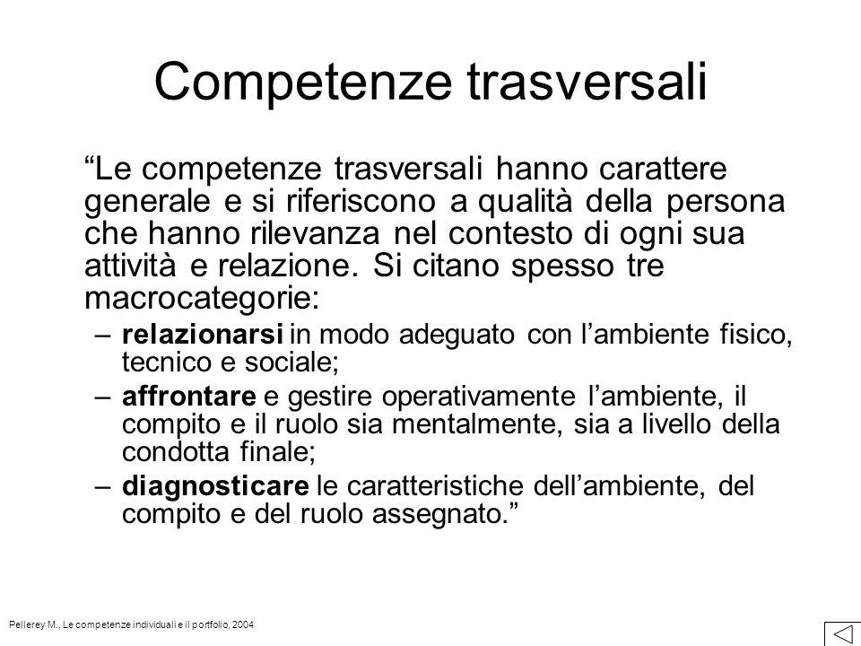 Competenze trasversali Le competenze trasversali hanno carattere generale e si riferiscono a qualità della persona che hanno rilevanza nel contesto di