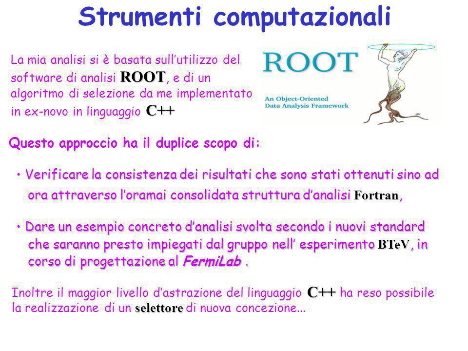 Strumenti computazionali ROOT C++ La mia analisi si è basata sullutilizzo del software di analisi ROOT, e di un algoritmo di selezione da me implementato in ex-novo in linguaggio C++ Questo approccio ha il duplice scopo di: Verificare la consistenza dei risultati che sono stati ottenuti sino ad Verificare la consistenza dei risultati che sono stati ottenuti sino ad ora attraverso loramai consolidata struttura danalisi Fortran, ora attraverso loramai consolidata struttura danalisi Fortran, Dare un esempio concreto danalisi svolta secondo i nuovi standard Dare un esempio concreto danalisi svolta secondo i nuovi standard che saranno presto impiegati dal gruppo nell esperimento BTeV, in che saranno presto impiegati dal gruppo nell esperimento BTeV, in corso di progettazione al FermiLab.