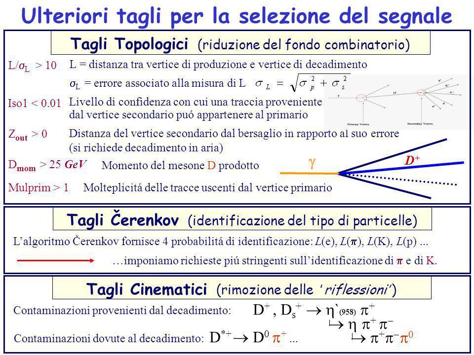 Ulteriori tagli per la selezione del segnale Lalgoritmo Čerenkov fornisce 4 probabilitá di identificazione: L(e), L( ), L(K), L(p)... Tagli Čerenkov (