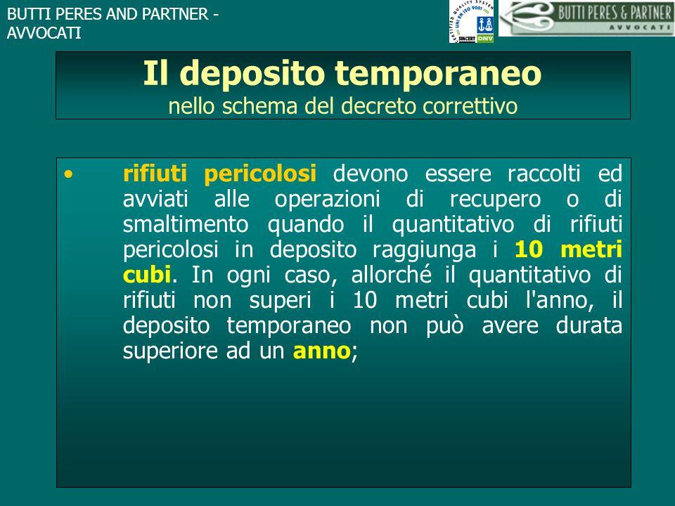 BUTTI PERES AND PARTNER - AVVOCATI Il deposito temporaneo nello schema del decreto correttivo rifiuti pericolosi devono essere raccolti ed avviati all
