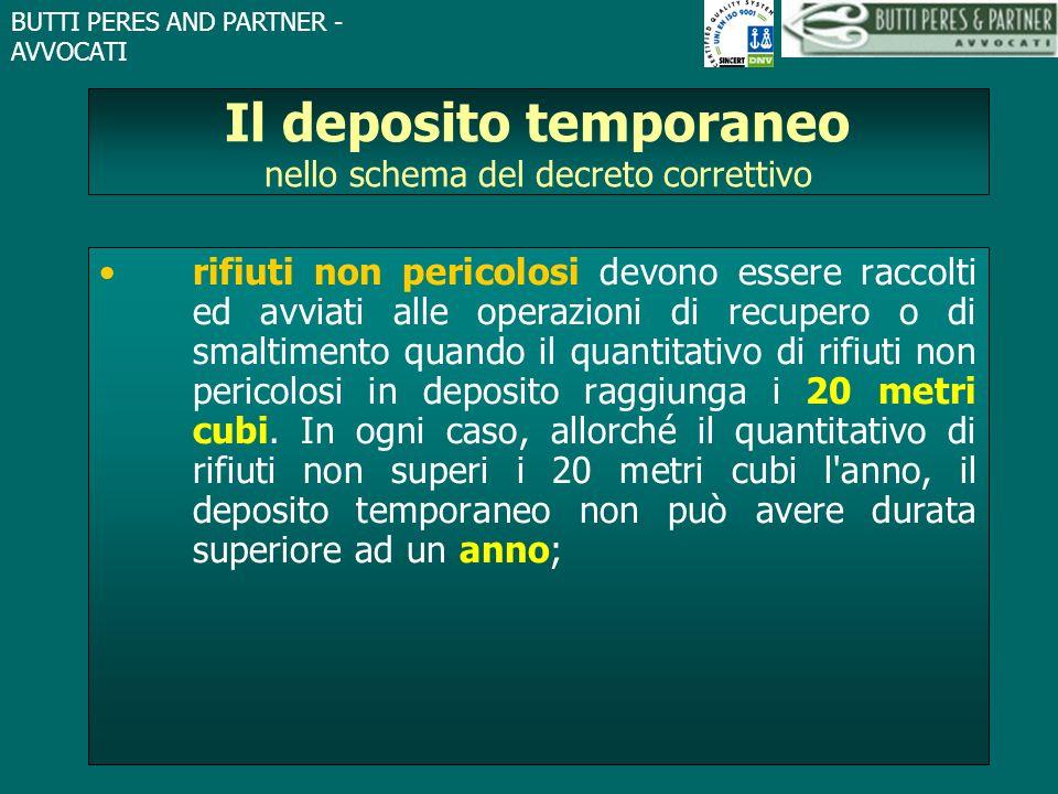 BUTTI PERES AND PARTNER - AVVOCATI Il deposito temporaneo nello schema del decreto correttivo rifiuti non pericolosi devono essere raccolti ed avviati