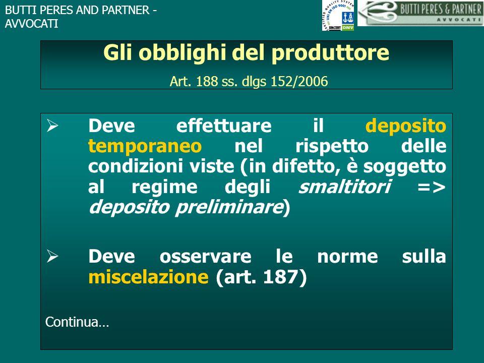 BUTTI PERES AND PARTNER - AVVOCATI Gli obblighi del produttore Art. 188 ss. dlgs 152/2006 Deve effettuare il deposito temporaneo nel rispetto delle co