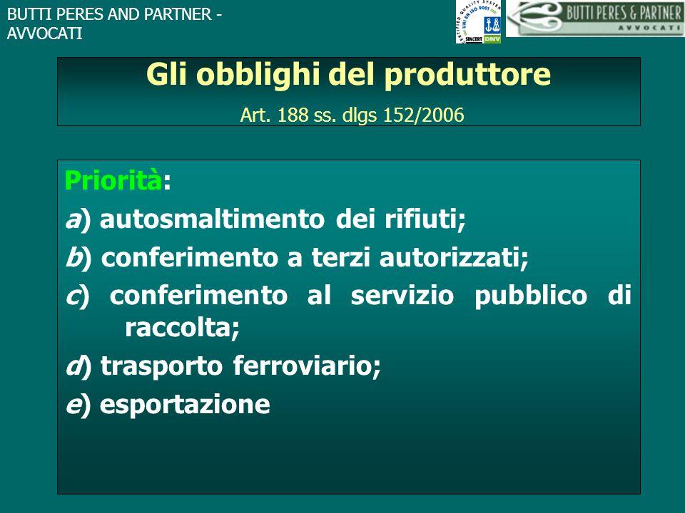 BUTTI PERES AND PARTNER - AVVOCATI Gli obblighi del produttore Art. 188 ss. dlgs 152/2006 Priorità: a) autosmaltimento dei rifiuti; b) conferimento a