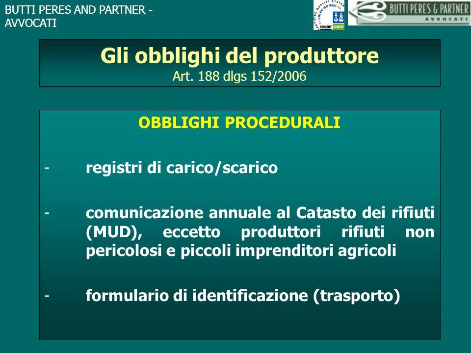 BUTTI PERES AND PARTNER - AVVOCATI Gli obblighi del produttore Art. 188 dlgs 152/2006 OBBLIGHI PROCEDURALI -registri di carico/scarico -comunicazione