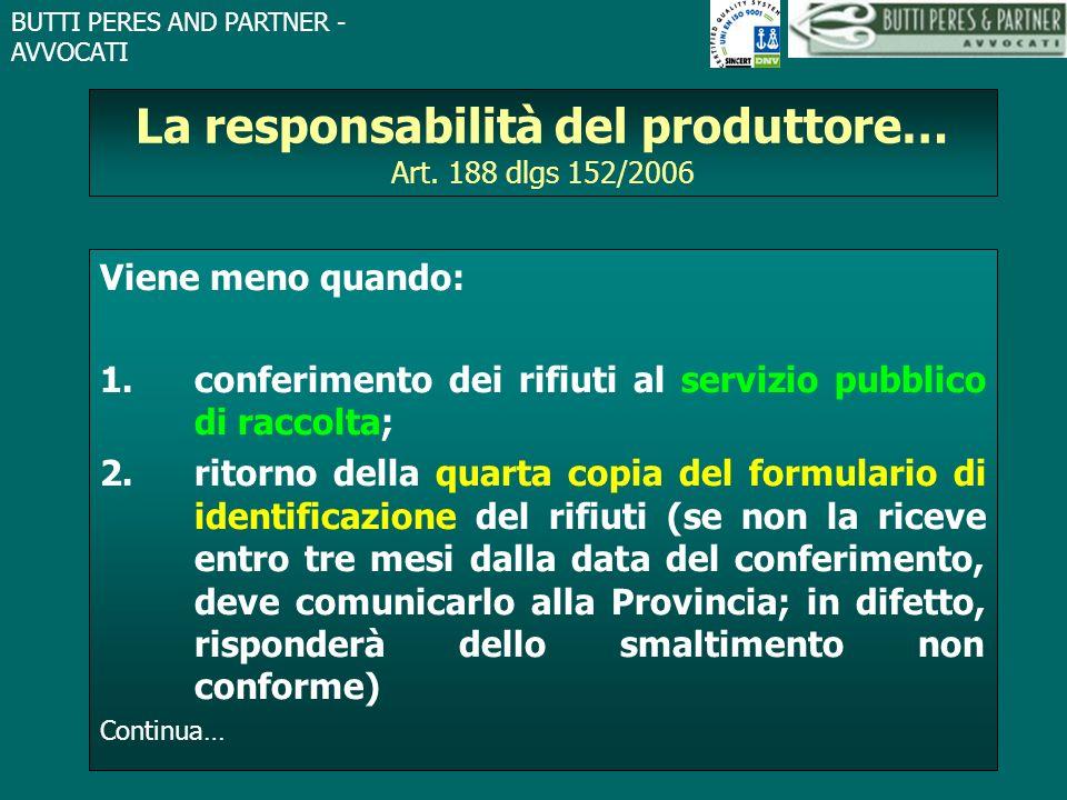 BUTTI PERES AND PARTNER - AVVOCATI La responsabilità del produttore… Art. 188 dlgs 152/2006 Viene meno quando: 1.conferimento dei rifiuti al servizio