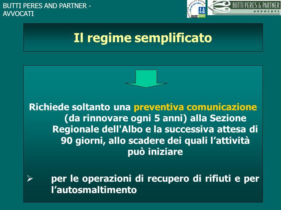 BUTTI PERES AND PARTNER - AVVOCATI Il regime semplificato Richiede soltanto una preventiva comunicazione (da rinnovare ogni 5 anni) alla Sezione Regio