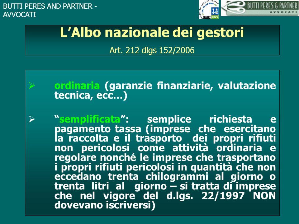 BUTTI PERES AND PARTNER - AVVOCATI LAlbo nazionale dei gestori Art. 212 dlgs 152/2006 ordinaria (garanzie finanziarie, valutazione tecnica, ecc…) semp