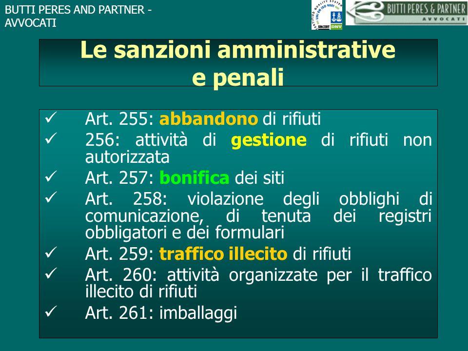 BUTTI PERES AND PARTNER - AVVOCATI Le sanzioni amministrative e penali Art. 255: abbandono di rifiuti 256: attività di gestione di rifiuti non autoriz