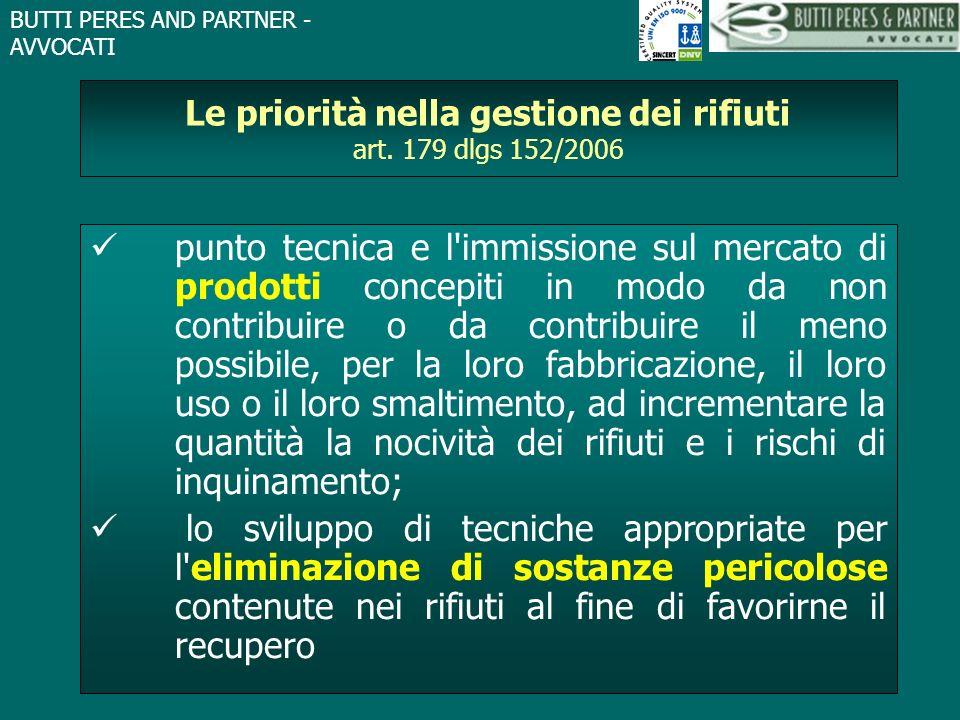BUTTI PERES AND PARTNER - AVVOCATI Le priorità nella gestione dei rifiuti art. 179 dlgs 152/2006 punto tecnica e l'immissione sul mercato di prodotti
