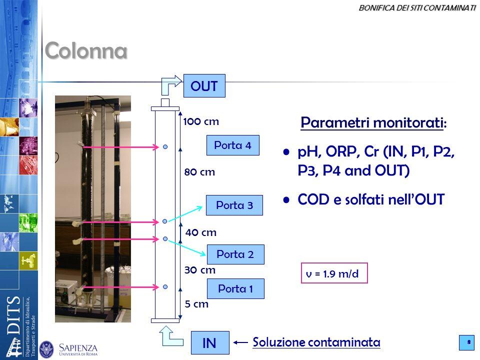 BONIFICA DEI SITI CONTAMINATI 8 IN OUT Porta 4 5 cm 30 cm 80 cm 100 cm 40 cm Porta 3 Porta 2 Porta 1 Soluzione contaminata Colonna Parametri monitorati: pH, ORP, Cr (IN, P1, P2, P3, P4 and OUT) COD e solfati nellOUT v = 1.9 m/d