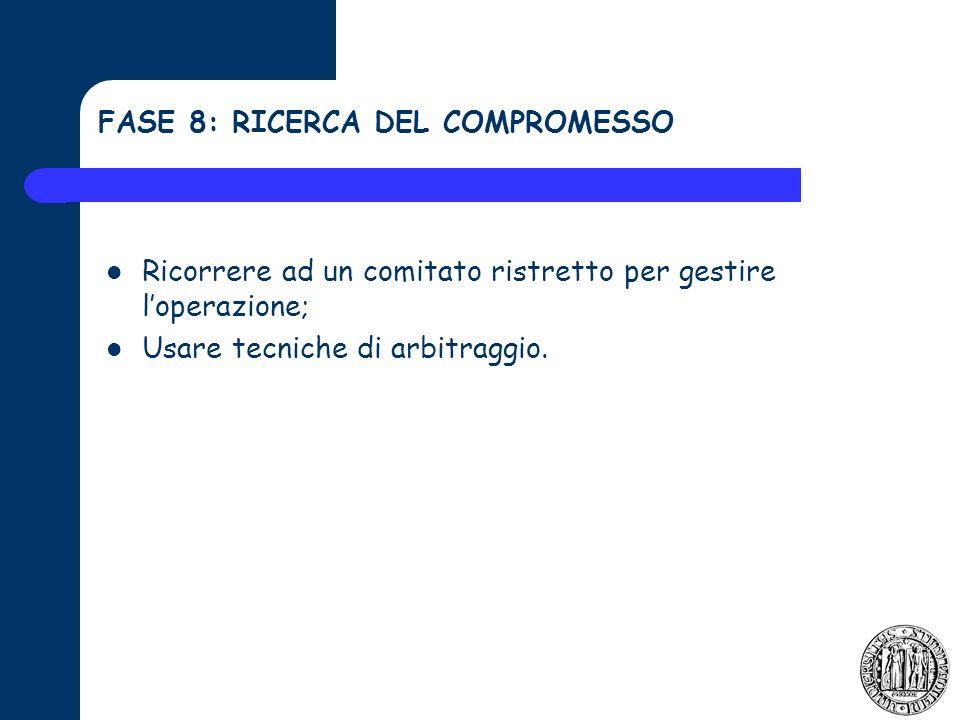 FASE 8: RICERCA DEL COMPROMESSO Ricorrere ad un comitato ristretto per gestire loperazione; Usare tecniche di arbitraggio.