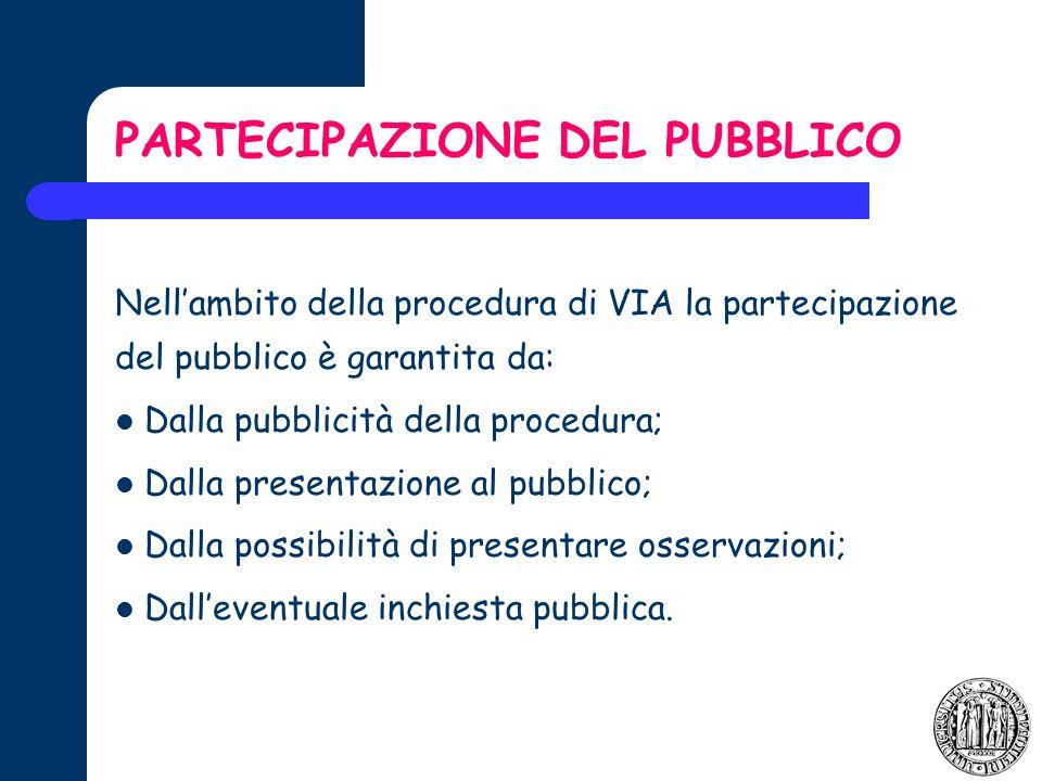 PARTECIPAZIONE DEL PUBBLICO Nellambito della procedura di VIA la partecipazione del pubblico è garantita da: Dalla pubblicità della procedura; Dalla presentazione al pubblico; Dalla possibilità di presentare osservazioni; Dalleventuale inchiesta pubblica.