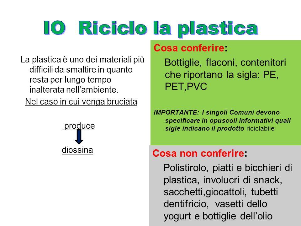 La plastica è uno dei materiali più difficili da smaltire in quanto resta per lungo tempo inalterata nellambiente. Nel caso in cui venga bruciata prod