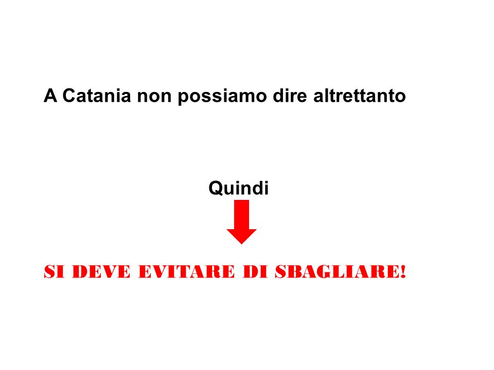 A Catania non possiamo dire altrettanto Quindi SI DEVE EVITARE DI SBAGLIARE!