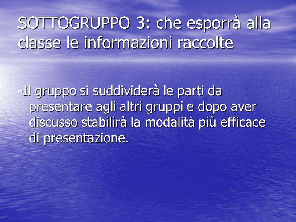 SOTTOGRUPPO 3: che esporrà alla classe le informazioni raccolte -Il gruppo si suddividerà le parti da presentare agli altri gruppi e dopo aver discuss