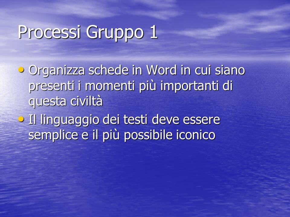 Processi Gruppo 1 Organizza schede in Word in cui siano presenti i momenti più importanti di questa civiltà Organizza schede in Word in cui siano pres