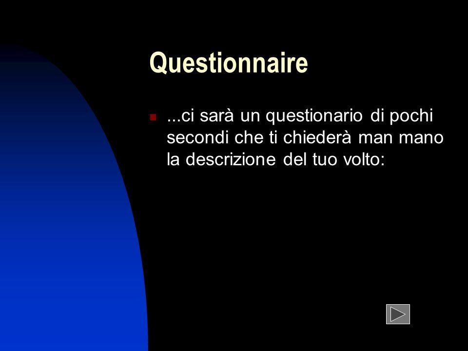 Questionnaire...ci sarà un questionario di pochi secondi che ti chiederà man mano la descrizione del tuo volto: