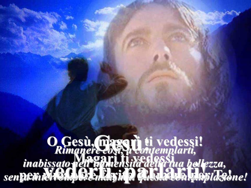 O Gesù, magari ti vedessi! Magari ti vedessi per rimanere ferito damore per Te! Rimanere così, a contemplarti, inabissato nellimmensità della tua bell