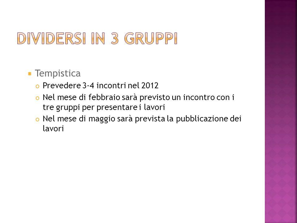 Tempistica Prevedere 3-4 incontri nel 2012 Nel mese di febbraio sarà previsto un incontro con i tre gruppi per presentare i lavori Nel mese di maggio