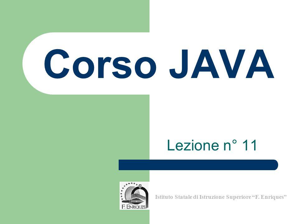 Lezione n° 11 Istituto Statale di Istruzione Superiore F. Enriques Corso JAVA