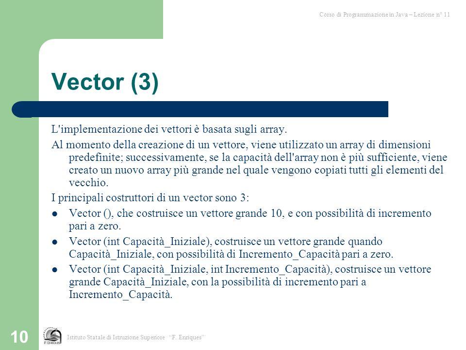 10 Vector (3) L'implementazione dei vettori è basata sugli array. Al momento della creazione di un vettore, viene utilizzato un array di dimensioni pr