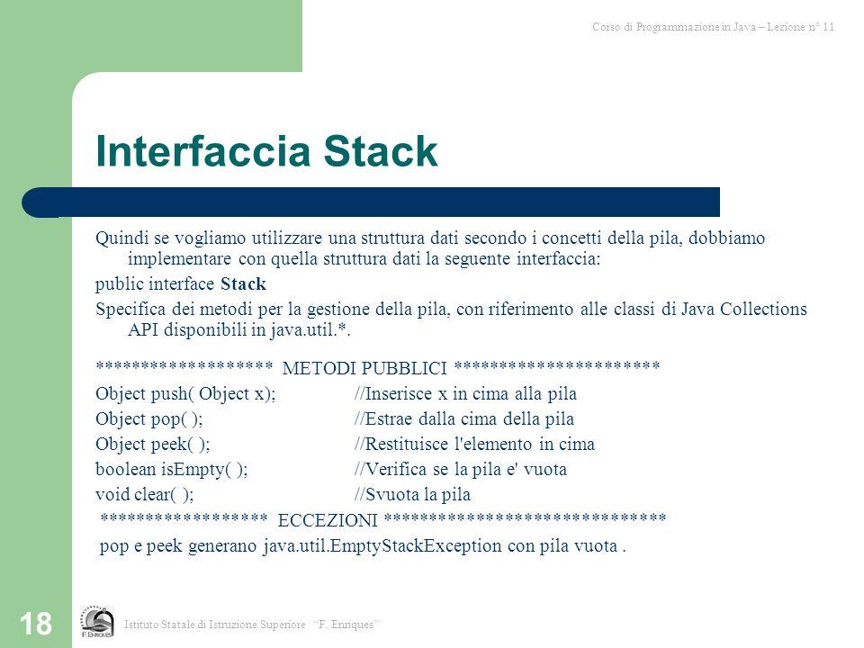 18 Interfaccia Stack Quindi se vogliamo utilizzare una struttura dati secondo i concetti della pila, dobbiamo implementare con quella struttura dati l