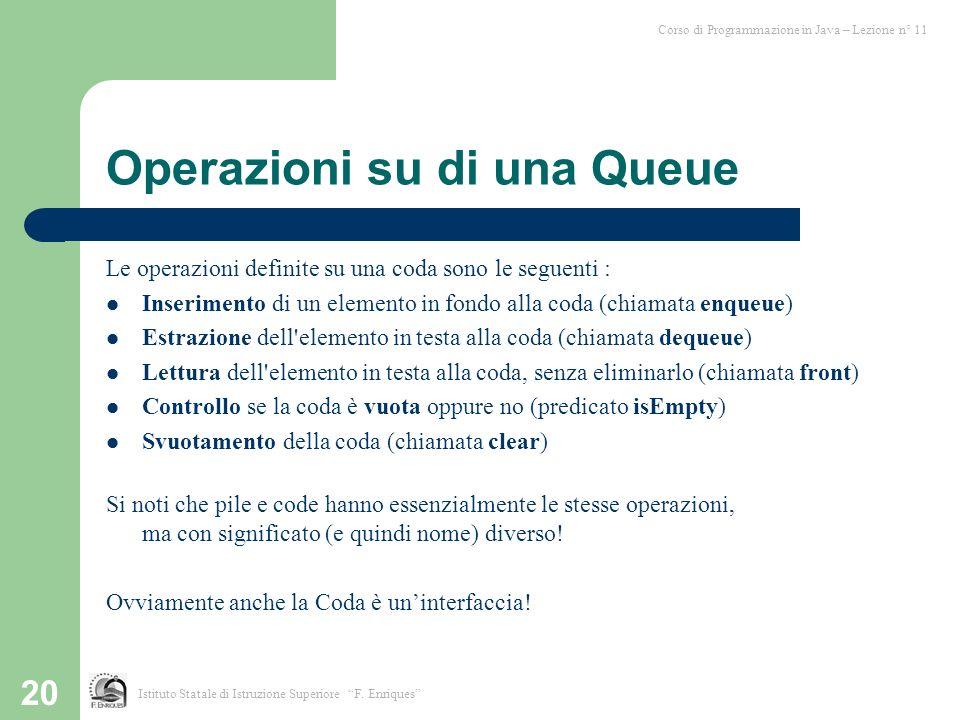 20 Operazioni su di una Queue Le operazioni definite su una coda sono le seguenti : Inserimento di un elemento in fondo alla coda (chiamata enqueue) E