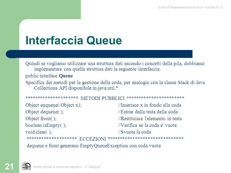 21 Interfaccia Queue Quindi se vogliamo utilizzare una struttura dati secondo i concetti della pila, dobbiamo implementare con quella struttura dati l