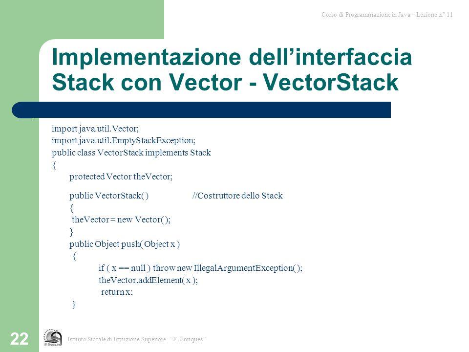 22 Implementazione dellinterfaccia Stack con Vector - VectorStack import java.util.Vector; import java.util.EmptyStackException; public class VectorSt