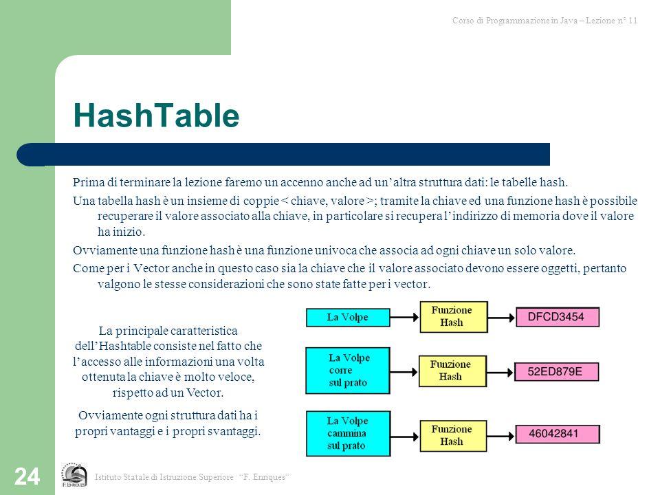 24 HashTable Prima di terminare la lezione faremo un accenno anche ad unaltra struttura dati: le tabelle hash. Una tabella hash è un insieme di coppie