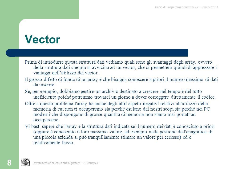 8 Vector Prima di introdurre questa struttura dati vediamo quali sono gli svantaggi degli array, ovvero della struttura dati che più si avvicina ad un
