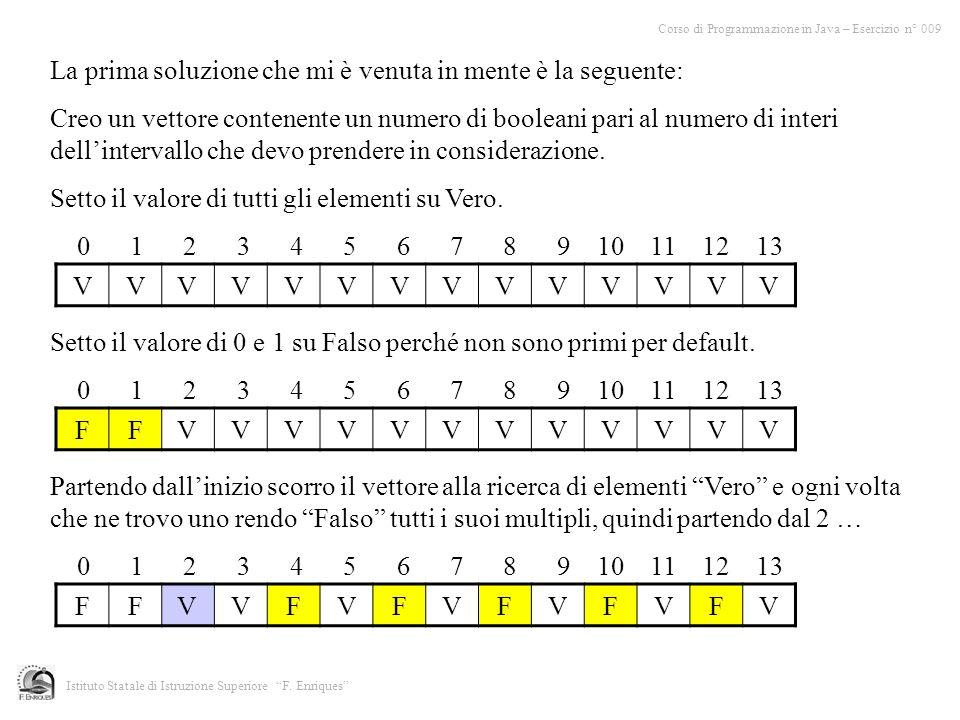La prima soluzione che mi è venuta in mente è la seguente: Creo un vettore contenente un numero di booleani pari al numero di interi dellintervallo ch