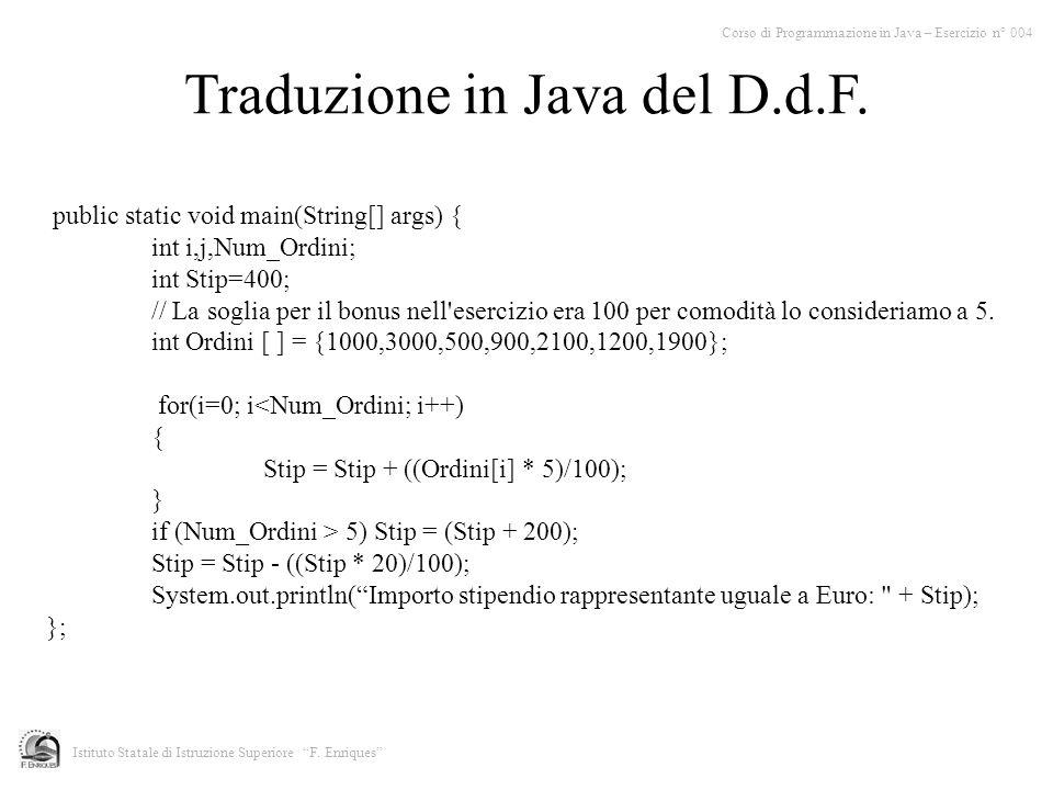 Corso di Programmazione in Java – Esercizio n° 004 Istituto Statale di Istruzione Superiore F.