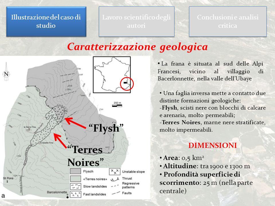 Illustrazione del caso di studio Lavoro scientifico degli autori Conclusioni e analisi critica Caratterizzazione geologica La frana è situata al sud d