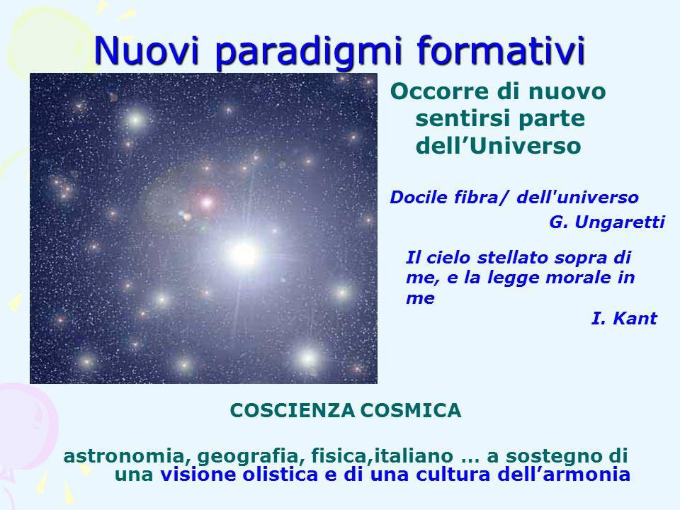 Nuovi paradigmi formativi Occorre di nuovo sentirsi parte dellUniverso Docile fibra/ dell'universo G. Ungaretti COSCIENZA COSMICA astronomia, geografi