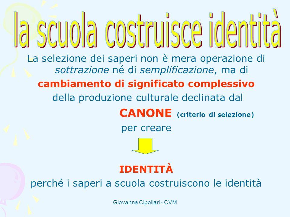 Giovanna Cipollari - CVM La selezione dei saperi non è mera operazione di sottrazione né di semplificazione, ma di cambiamento di significato compless