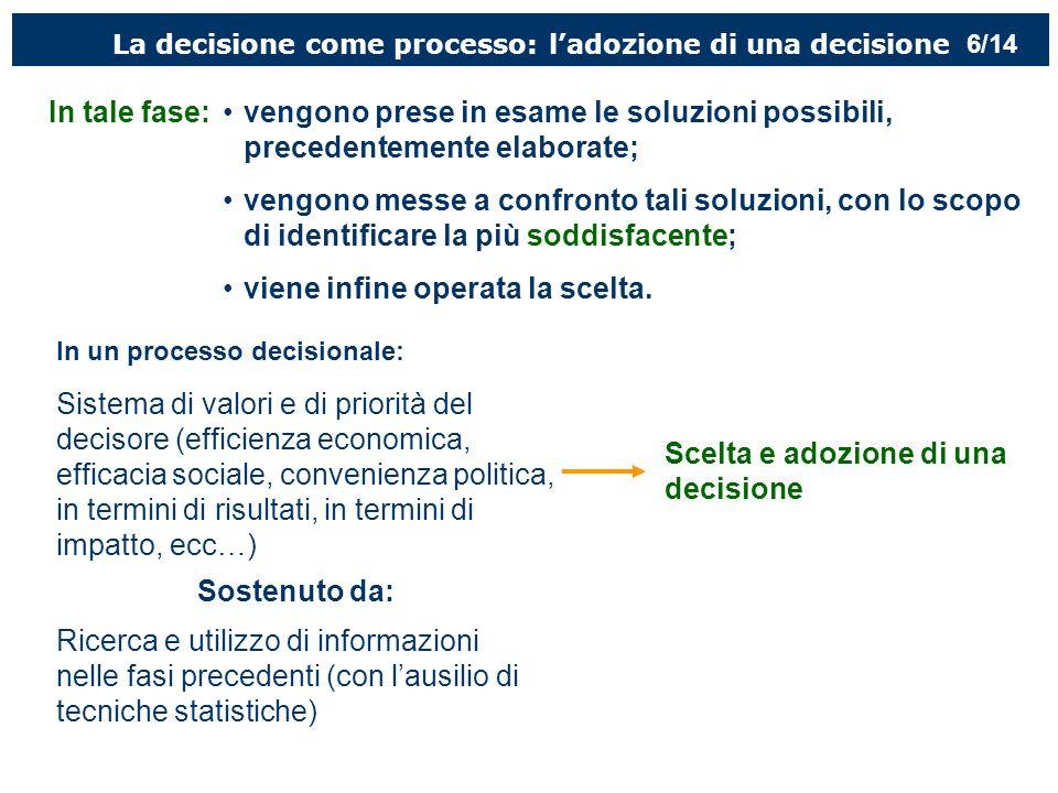 La decisione come processo: ladozione di una decisione In tale fase:vengono prese in esame le soluzioni possibili, precedentemente elaborate; vengono messe a confronto tali soluzioni, con lo scopo di identificare la più soddisfacente; viene infine operata la scelta.