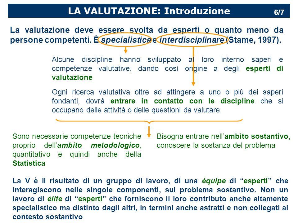 LA VALUTAZIONE: Introduzione La valutazione deve essere svolta da esperti o quanto meno da persone competenti.