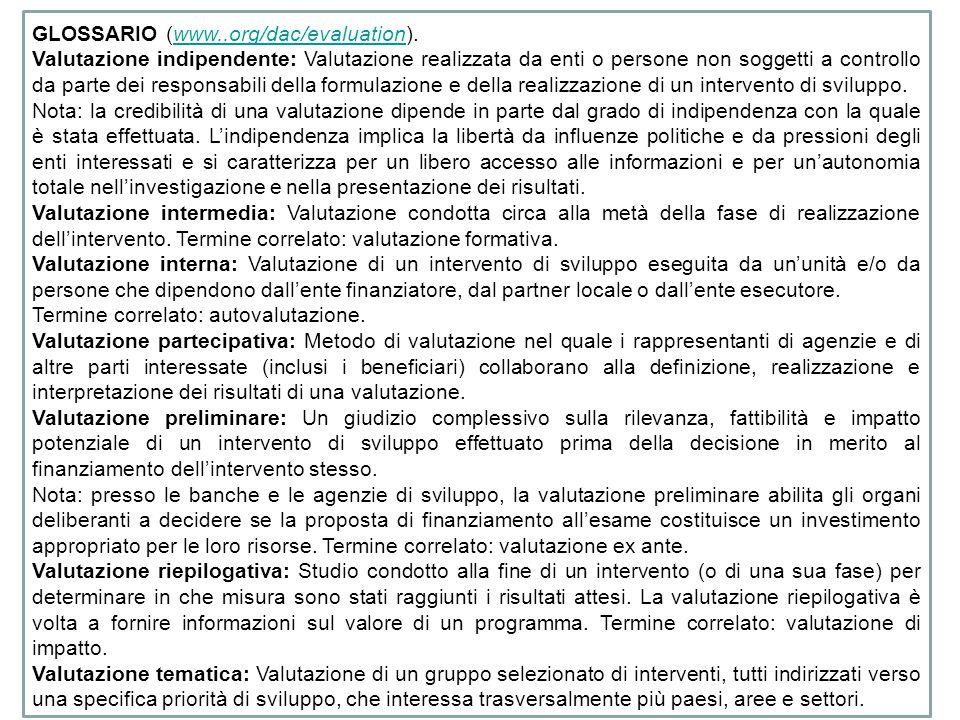 GLOSSARIO (www..org/dac/evaluation).www..org/dac/evaluation Valutazione indipendente: Valutazione realizzata da enti o persone non soggetti a controllo da parte dei responsabili della formulazione e della realizzazione di un intervento di sviluppo.
