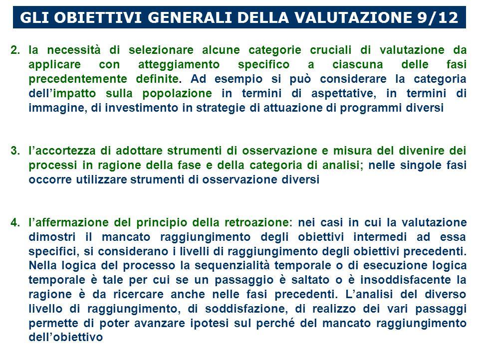 GLI OBIETTIVI GENERALI DELLA VALUTAZIONE 9/12 2.la necessità di selezionare alcune categorie cruciali di valutazione da applicare con atteggiamento specifico a ciascuna delle fasi precedentemente definite.