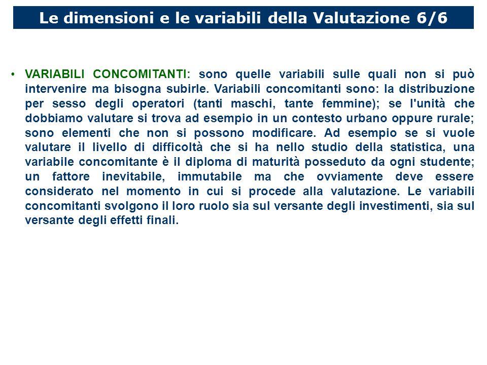 Le dimensioni e le variabili della Valutazione 6/6 VARIABILI CONCOMITANTI: sono quelle variabili sulle quali non si può intervenire ma bisogna subirle.