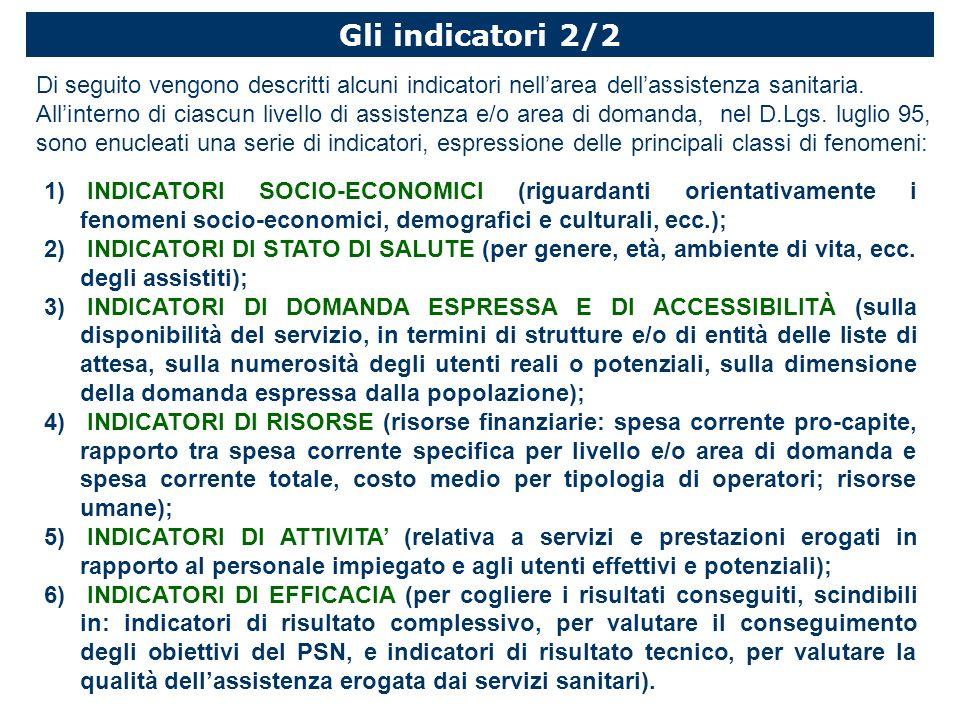 Gli indicatori 2/2 Di seguito vengono descritti alcuni indicatori nellarea dellassistenza sanitaria.