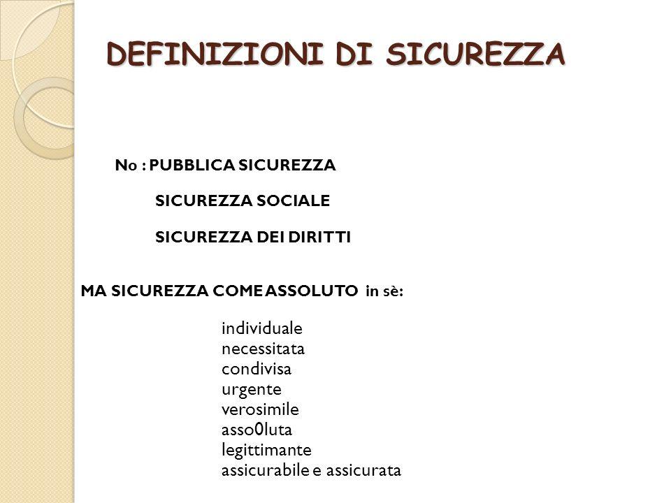 DEFINIZIONI DI SICUREZZA No : PUBBLICA SICUREZZA SICUREZZA SOCIALE SICUREZZA DEI DIRITTI MA SICUREZZA COME ASSOLUTO in sè: individuale necessitata con