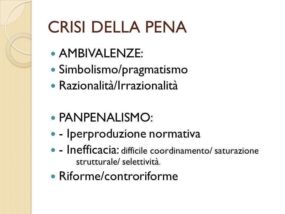 CRISI DELLA PENA AMBIVALENZE: Simbolismo/pragmatismo Razionalità/Irrazionalità PANPENALISMO: - Iperproduzione normativa - Inefficacia: difficile coordinamento/ saturazione strutturale/ selettività.